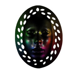 Digital Art Psychedelic Face Skull Color Oval Filigree Ornament (two Sides) by BangZart