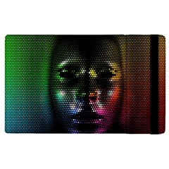 Digital Art Psychedelic Face Skull Color Apple Ipad 2 Flip Case by BangZart