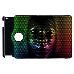 Digital Art Psychedelic Face Skull Color Apple Ipad 2 Flip 360 Case by BangZart