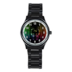 Digital Art Psychedelic Face Skull Color Stainless Steel Round Watch by BangZart