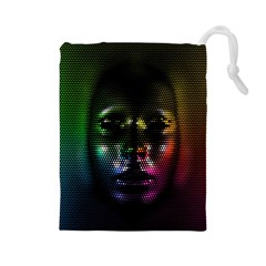 Digital Art Psychedelic Face Skull Color Drawstring Pouches (large)  by BangZart