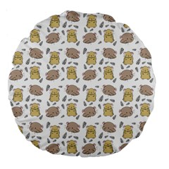 Cute Hamster Pattern Large 18  Premium Flano Round Cushions by BangZart