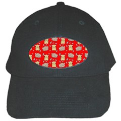 Cute Hamster Pattern Red Background Black Cap by BangZart