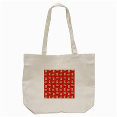 Cute Hamster Pattern Red Background Tote Bag (cream) by BangZart