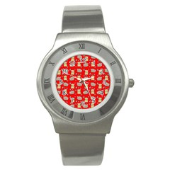 Cute Hamster Pattern Red Background Stainless Steel Watch by BangZart