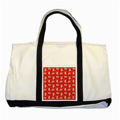 Cute Hamster Pattern Red Background Two Tone Tote Bag by BangZart