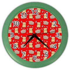 Cute Hamster Pattern Red Background Color Wall Clocks by BangZart