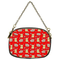 Cute Hamster Pattern Red Background Chain Purses (one Side)  by BangZart