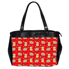 Cute Hamster Pattern Red Background Office Handbags (2 Sides)  by BangZart