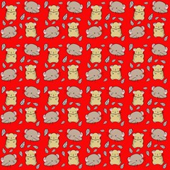 Cute Hamster Pattern Red Background Magic Photo Cubes by BangZart