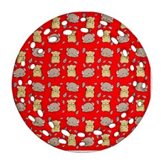 Cute Hamster Pattern Red Background Ornament (round Filigree) by BangZart