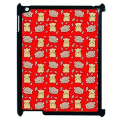 Cute Hamster Pattern Red Background Apple Ipad 2 Case (black) by BangZart
