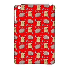 Cute Hamster Pattern Red Background Apple Ipad Mini Hardshell Case (compatible With Smart Cover) by BangZart