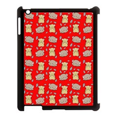 Cute Hamster Pattern Red Background Apple Ipad 3/4 Case (black) by BangZart