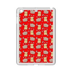 Cute Hamster Pattern Red Background Ipad Mini 2 Enamel Coated Cases by BangZart