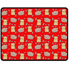 Cute Hamster Pattern Red Background Double Sided Fleece Blanket (medium)  by BangZart