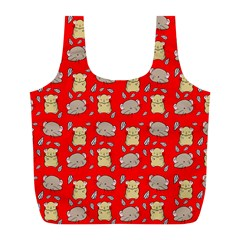 Cute Hamster Pattern Red Background Full Print Recycle Bags (l)  by BangZart