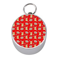 Cute Hamster Pattern Red Background Mini Silver Compasses by BangZart
