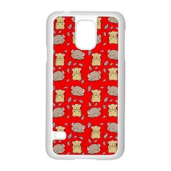 Cute Hamster Pattern Red Background Samsung Galaxy S5 Case (white) by BangZart