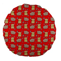 Cute Hamster Pattern Red Background Large 18  Premium Flano Round Cushions by BangZart
