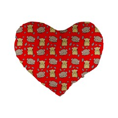 Cute Hamster Pattern Red Background Standard 16  Premium Flano Heart Shape Cushions by BangZart