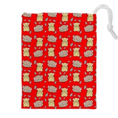 Cute Hamster Pattern Red Background Drawstring Pouches (xxl) by BangZart