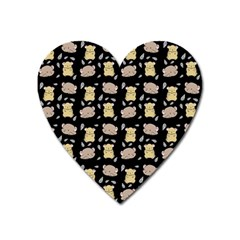 Cute Hamster Pattern Black Background Heart Magnet by BangZart