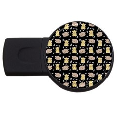 Cute Hamster Pattern Black Background Usb Flash Drive Round (2 Gb) by BangZart