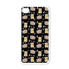 Cute Hamster Pattern Black Background Apple Iphone 4 Case (white) by BangZart