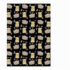 Cute Hamster Pattern Black Background Small Garden Flag (two Sides) by BangZart