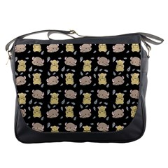 Cute Hamster Pattern Black Background Messenger Bags by BangZart