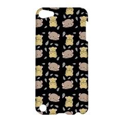Cute Hamster Pattern Black Background Apple Ipod Touch 5 Hardshell Case