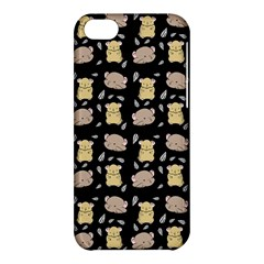 Cute Hamster Pattern Black Background Apple Iphone 5c Hardshell Case by BangZart