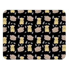 Cute Hamster Pattern Black Background Double Sided Flano Blanket (large)  by BangZart