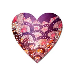 Colorful Art Traditional Batik Pattern Heart Magnet by BangZart