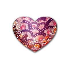 Colorful Art Traditional Batik Pattern Rubber Coaster (heart)  by BangZart