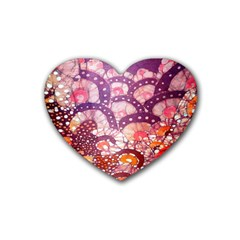 Colorful Art Traditional Batik Pattern Heart Coaster (4 Pack)  by BangZart