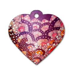 Colorful Art Traditional Batik Pattern Dog Tag Heart (one Side) by BangZart