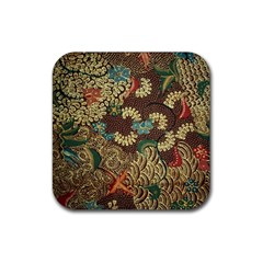 Colorful The Beautiful Of Art Indonesian Batik Pattern Rubber Coaster (square)  by BangZart