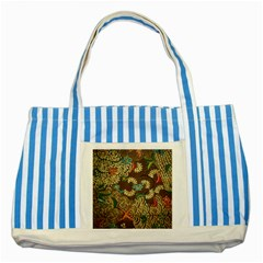 Colorful The Beautiful Of Art Indonesian Batik Pattern Striped Blue Tote Bag by BangZart