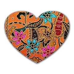Colorful The Beautiful Of Art Indonesian Batik Pattern(1) Heart Mousepads by BangZart