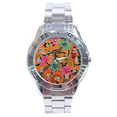 Colorful The Beautiful Of Art Indonesian Batik Pattern(1) Stainless Steel Analogue Watch by BangZart