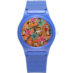Colorful The Beautiful Of Art Indonesian Batik Pattern(1) Round Plastic Sport Watch (s) by BangZart