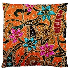 Colorful The Beautiful Of Art Indonesian Batik Pattern(1) Large Cushion Case (two Sides) by BangZart