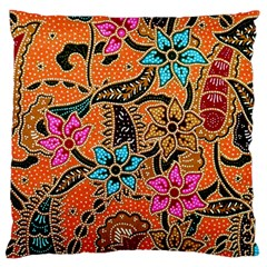 Colorful The Beautiful Of Art Indonesian Batik Pattern(1) Large Flano Cushion Case (one Side) by BangZart