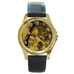 Colorful The Beautiful Of Traditional Art Indonesian Batik Pattern Round Gold Metal Watch by BangZart