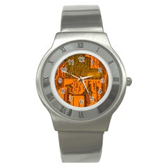 Circuit Board Pattern Stainless Steel Watch by BangZart