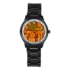 Circuit Board Pattern Stainless Steel Round Watch by BangZart