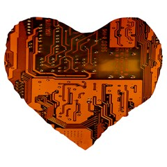 Circuit Board Pattern Large 19  Premium Flano Heart Shape Cushions by BangZart