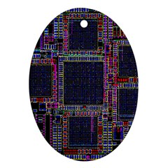 Cad Technology Circuit Board Layout Pattern Ornament (oval) by BangZart